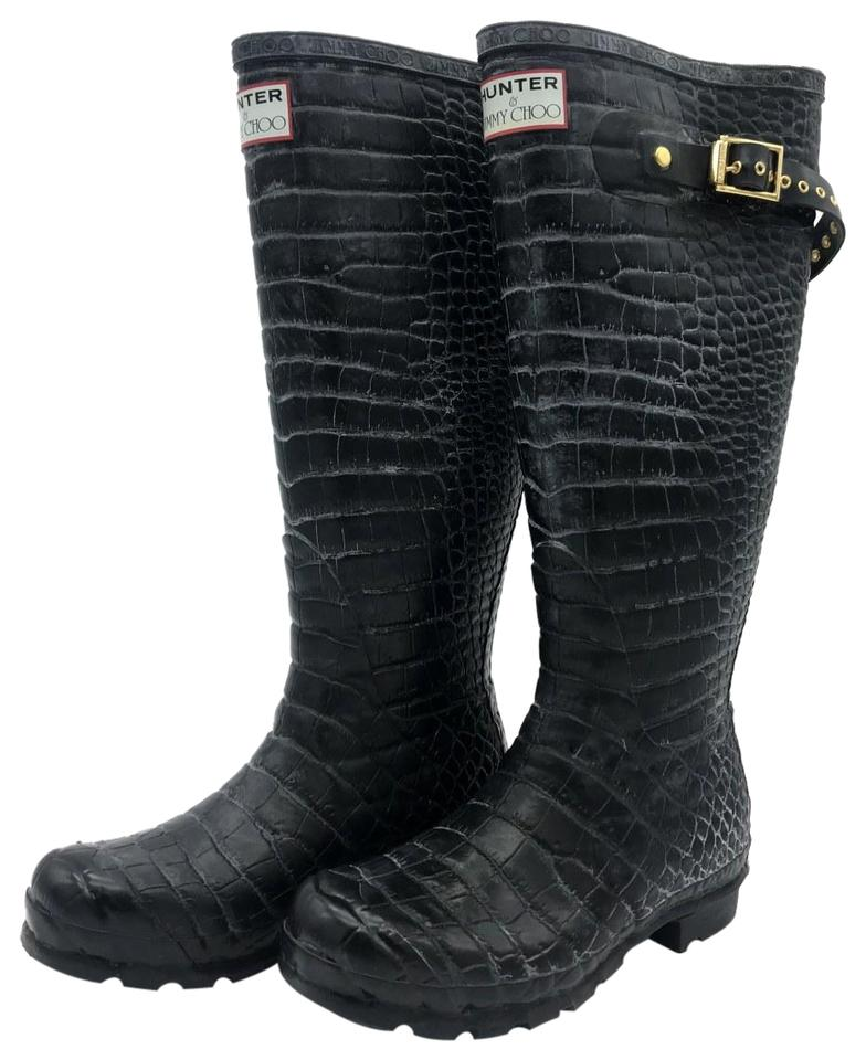9276b977a4 Hunter Black Jimmy Choo Rubber Crocodile Rain Women's Boots/Booties ...