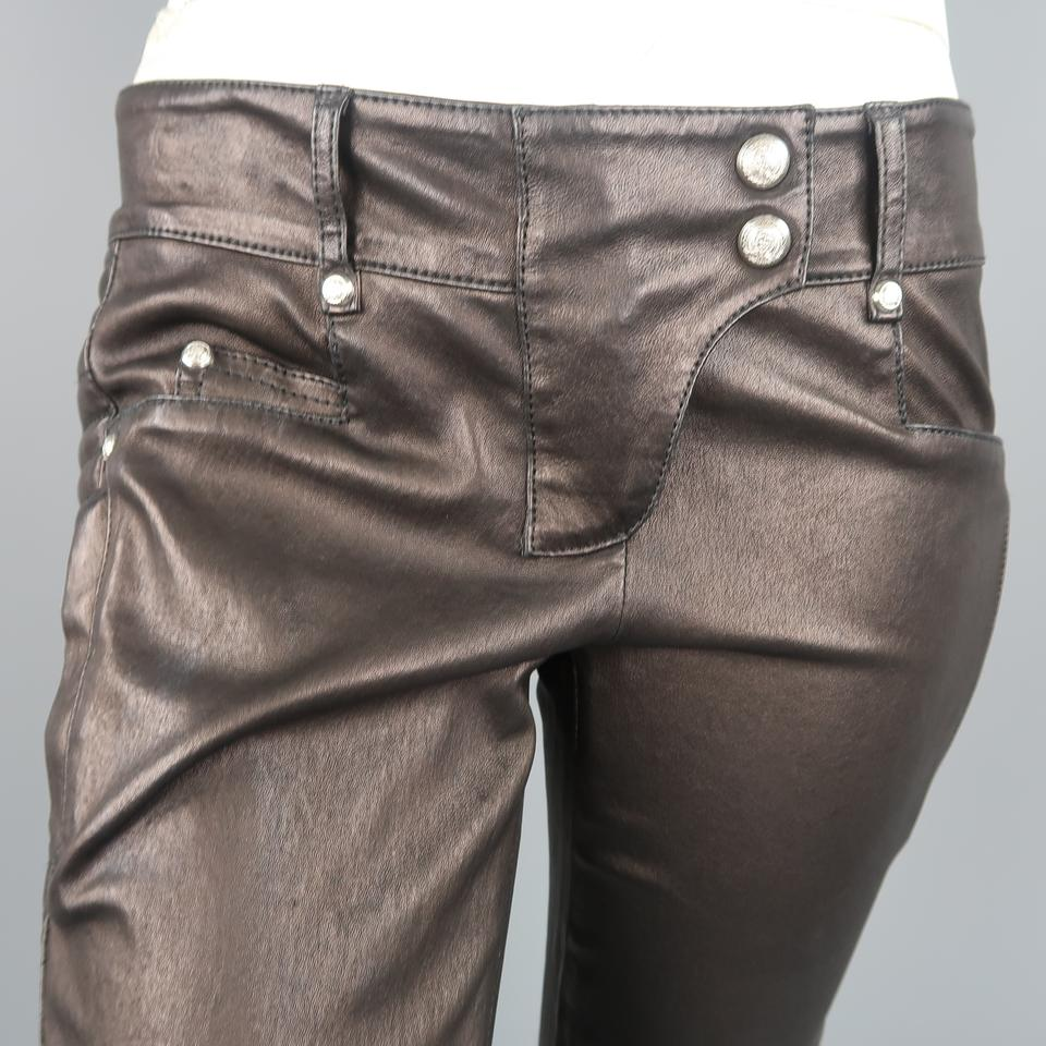 07d1c8df Balmain Brown Black Quilted Stretch Leather Motorcycle Pants Size 4 (S, 27)  - Tradesy