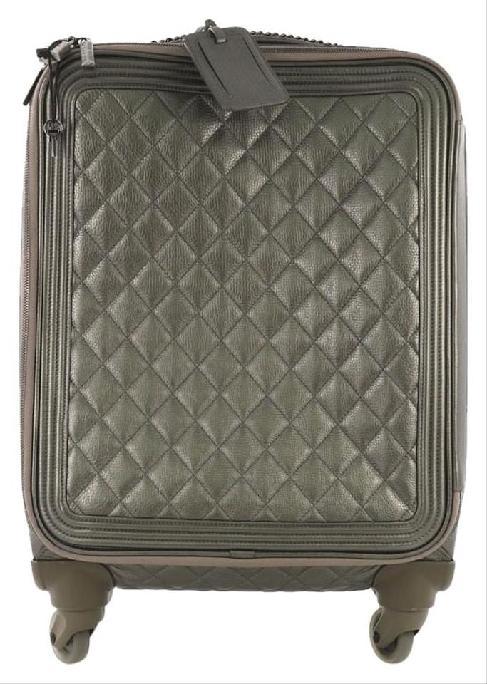 ae14375fb9e9 Chanel Coco Case Rolling Trolley Quilted Metallic Gray Caviar Weekend/Travel  Bag