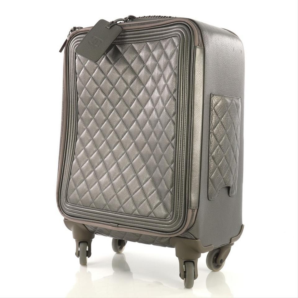 4752c3ca2d54 Chanel Coco Case Rolling Trolley Quilted Metallic Gray Caviar Weekend/Travel  Bag - Tradesy