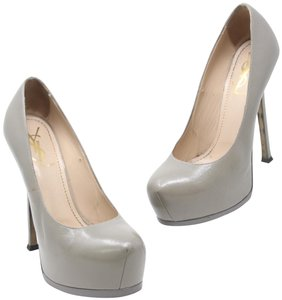 Saint Laurent Gucci Round Toe Monogram Stiletto Fendista Grey Pumps