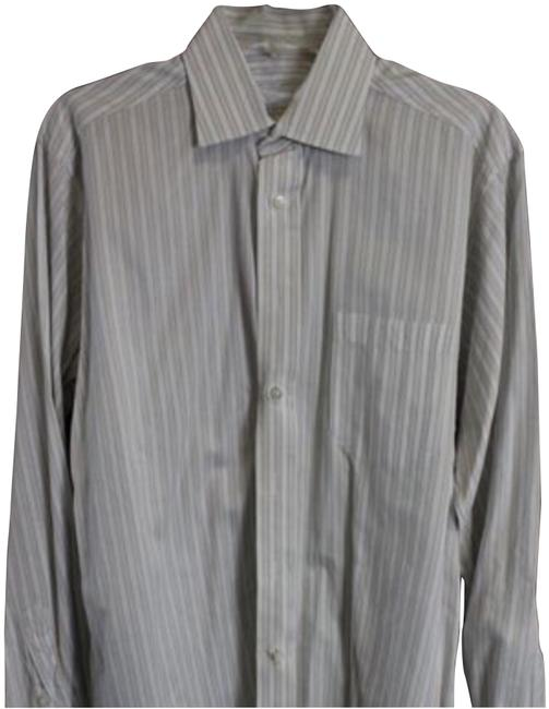 Item - Cream and White Striped Longsleeve Men's Well Loved Button-down Top Size 14 (L)