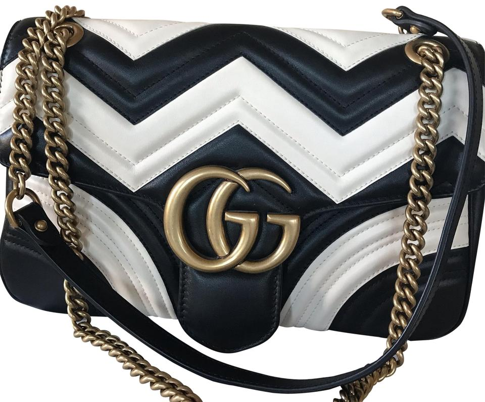 abc30f18e8b Gucci Marmont Chevron Black White Leather Shoulder Bag - Tradesy