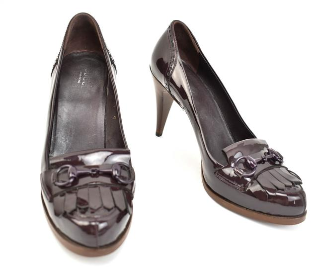 Item - Dark Plum Horsebit Leather Logo Heels / Pumps Size EU 39 (Approx. US 9) Wide (C, D)
