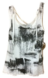 People's Liberation Abstract Print Drawstring Top Black and White