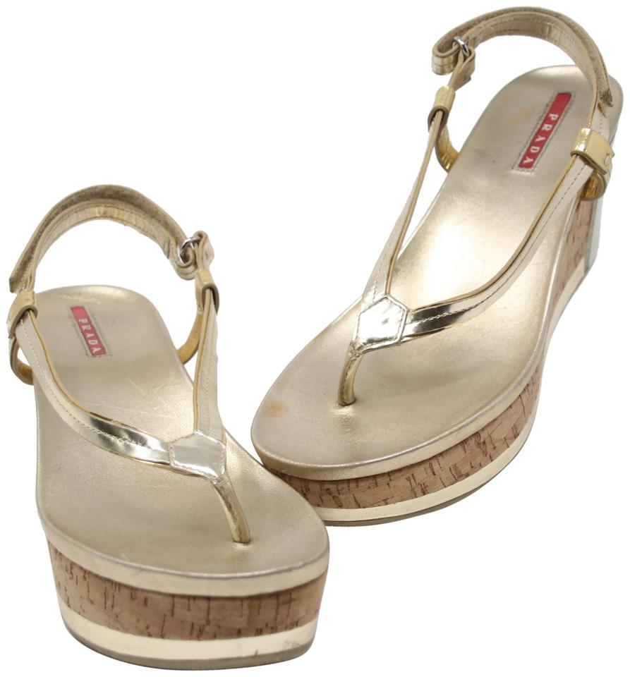 f790433f2fb Prada Sport Monogram Gucci Tom Ford Summer Metallic Gold Wedges Image 0 ...
