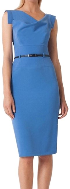 Item - Blue Classic Celeb Jackie O Belted Sheath Cocktail Mid-length Formal Dress Size 12 (L)