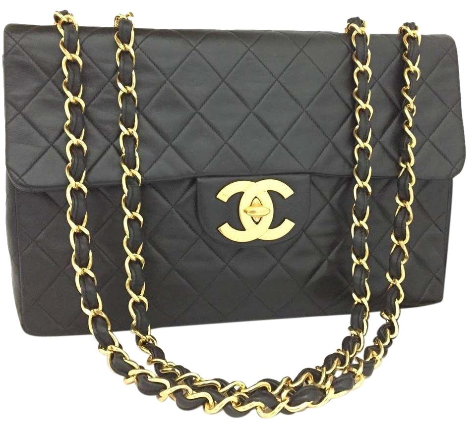 712b58c981f8 Chanel Auht Maxi Jumbo 34 Quilted Matelasse Xl 315 Black Gold ...