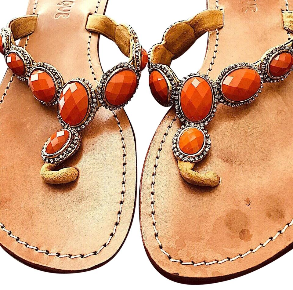 d7829bf44 Mystique Boutique Orange Gem Stone Crystals and Leather Sandals Size ...