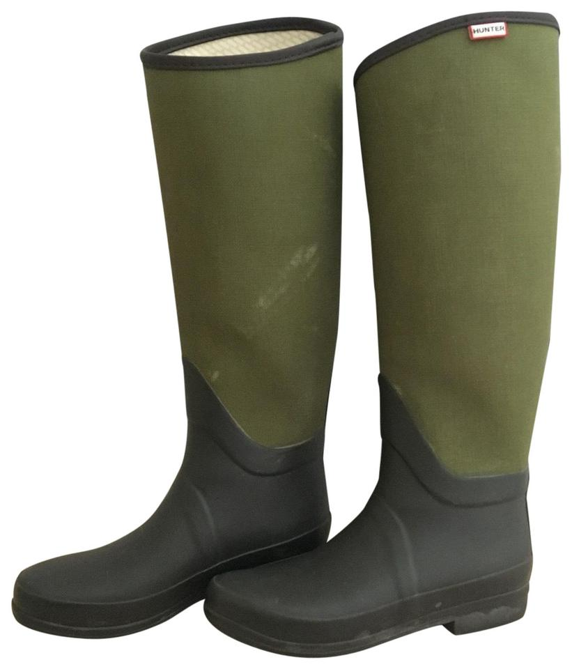 new style 79b8f a5735 Hunter Brown/ Green Regent St James Canvas Wellington Boots/Booties Size US  5 Regular (M, B) 76% off retail