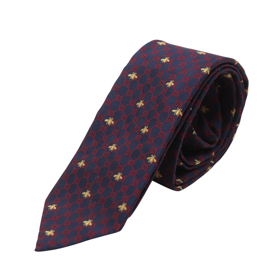 a4a3c190e Gucci Navy Red Gg Bee Italian Silk Men's Business Tie/Bowtie Image 0 ...