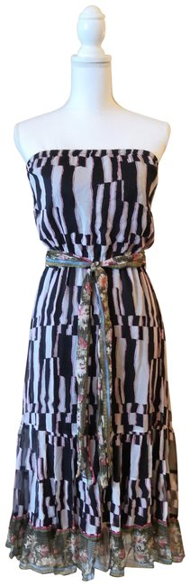 Item - Multi-colored Print Strapless Silk Ruffled with Sash Mid-length Casual Maxi Dress Size 8 (M)