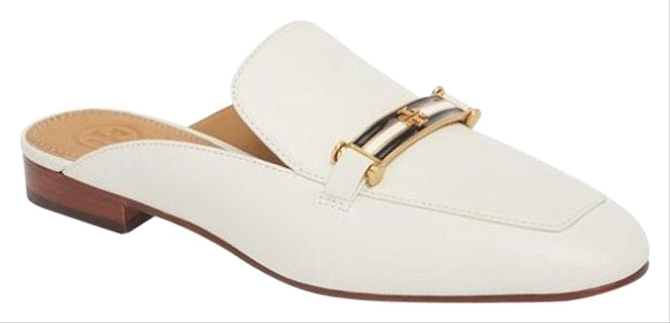 ff32c82816492 Tory Burch White Ivory New Slides Mules Leather Loafers New Sandals ...