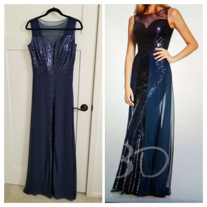 Navy Mother Of Bride Sequin Gala Nightgown Maid Of Honor Formal Bridesmaid/Mob Dress Size 6 (S)