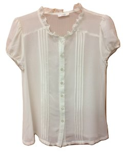 Millau Sheer Lace Elastic Short Sleeve Button Down Top White Ivory