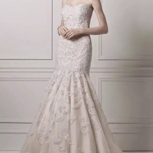 Oleg Cassini Ivory Champagne Lace Cmb619 Feminine Wedding Dress Size 8 (M)
