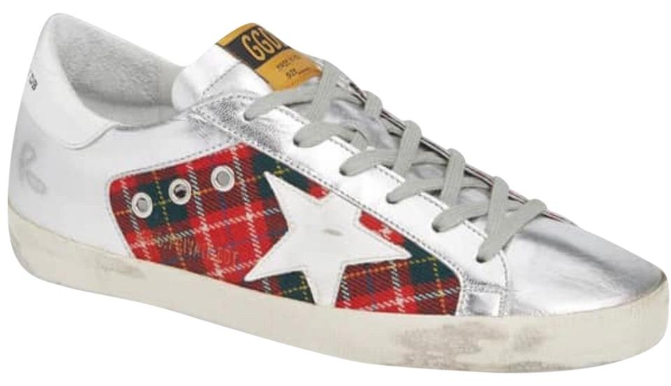 c457681fe21 Golden Goose Deluxe Brand Silver and Red Superstar Plaid Sneakers Size US  10 Regular (M, B) 53% off retail