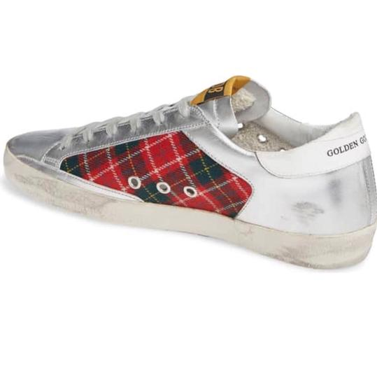 Golden Goose Deluxe Brand silver and red Athletic Image 1