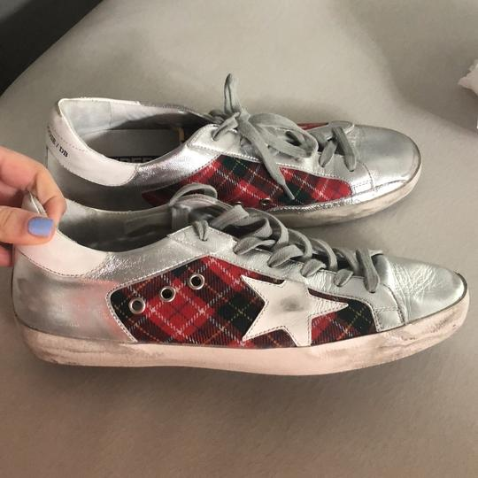 Golden Goose Deluxe Brand silver and red Athletic Image 4