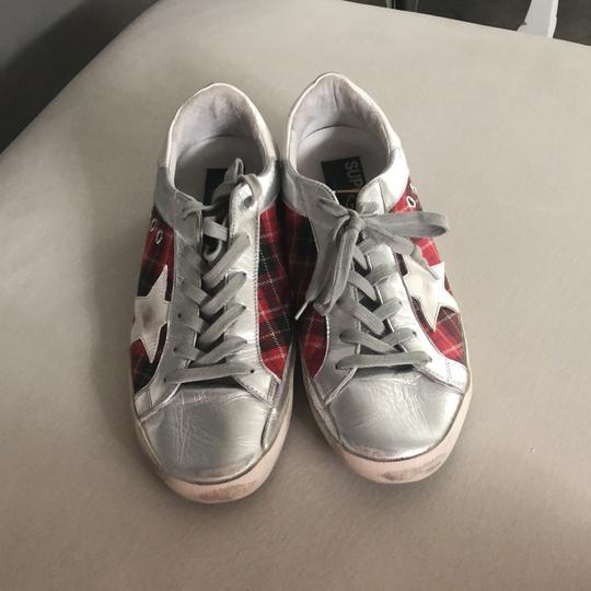Golden Goose Deluxe Brand silver and red Athletic Image 6