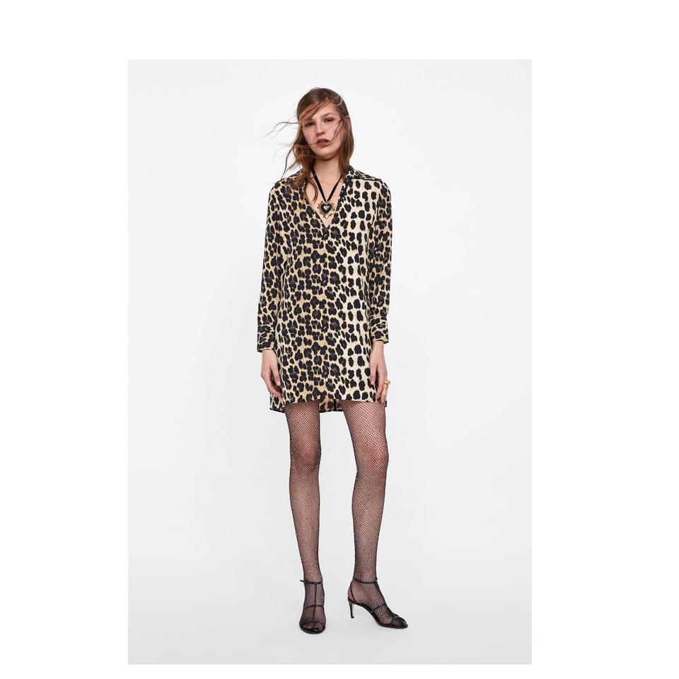 8a5f533d Zara Leopard New Animal Print Short Casual Dress Size 8 (M) - Tradesy