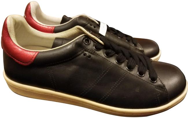 Item - Black Red White Bart Leather Sneakers Size EU 37 (Approx. US 7) Regular (M, B)