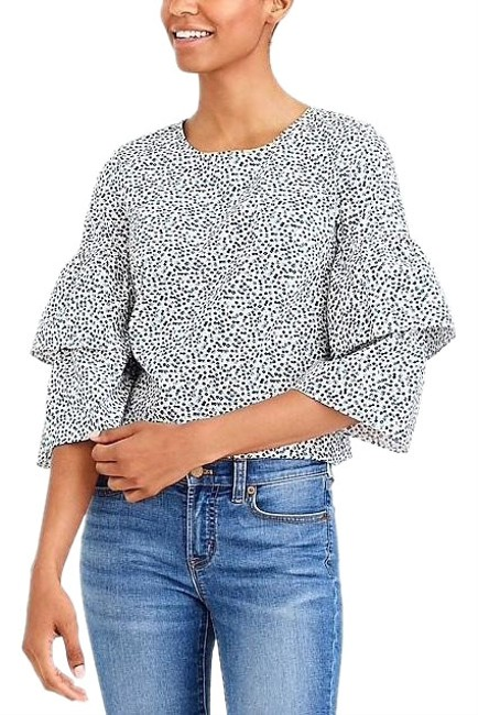 Preload https://img-static.tradesy.com/item/24983236/jcrew-blue-floral-printed-tiered-bell-sleeve-j6509-blouse-size-4-s-0-1-650-650.jpg