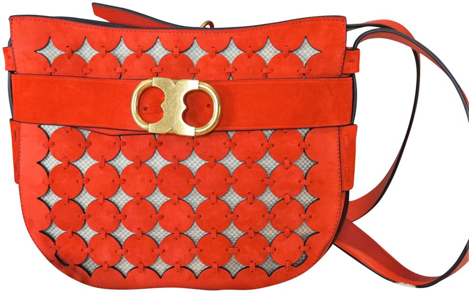 95c911a18 Tory Burch Gemini Link Messenger Cut-out Red Suede Leather Cross Body Bag