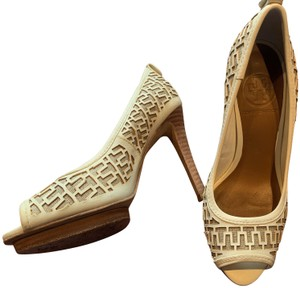 Tory Burch Peep Toe Laser Cut Leather cream and tan Pumps