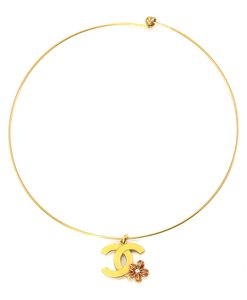 Chanel Chanel CC flower charm bangle necklace.