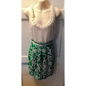 5/48 White & Green Polyester 5/48 Classic Floral Feminine Bridesmaid/Mob Dress Size 4 (S)