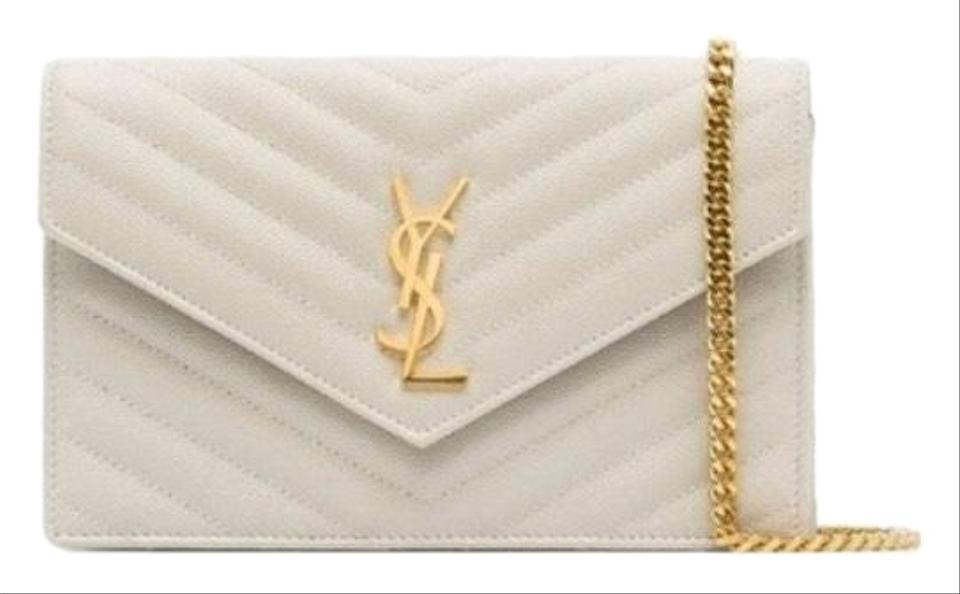 2eea4fb0 Saint Laurent New Color Monogram Matelasse Small Envelope Crema Soft White  Leather Cross Body Bag 11% off retail