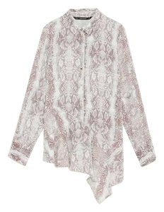 Zara Ruffle Snakeskin Multicolor Button Down Shirt