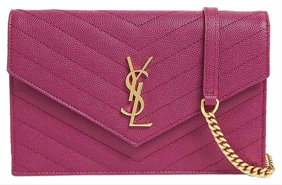 a1b8988efb89 Saint Laurent New Color Monogram Matelasse Small Envelope  dark Grape   Leather Cross Body Bag 12% off retail