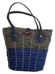 Other Tote in Woven High Quality Straw Tan/Navy Blue