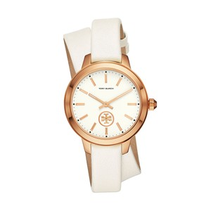 Tory Burch RoseGold Women's Collins White Leather Wrap Strap Watch 38mm