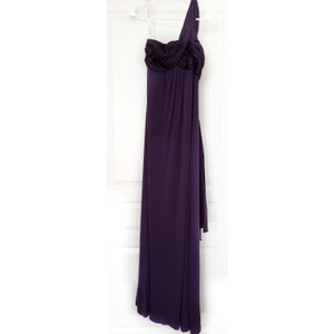 David's Bridal Plum Purple Jersey Cotton and Charmeuse One-shoulder with Cascade Back Formal Bridesmaid/Mob Dress Size 2 (XS)