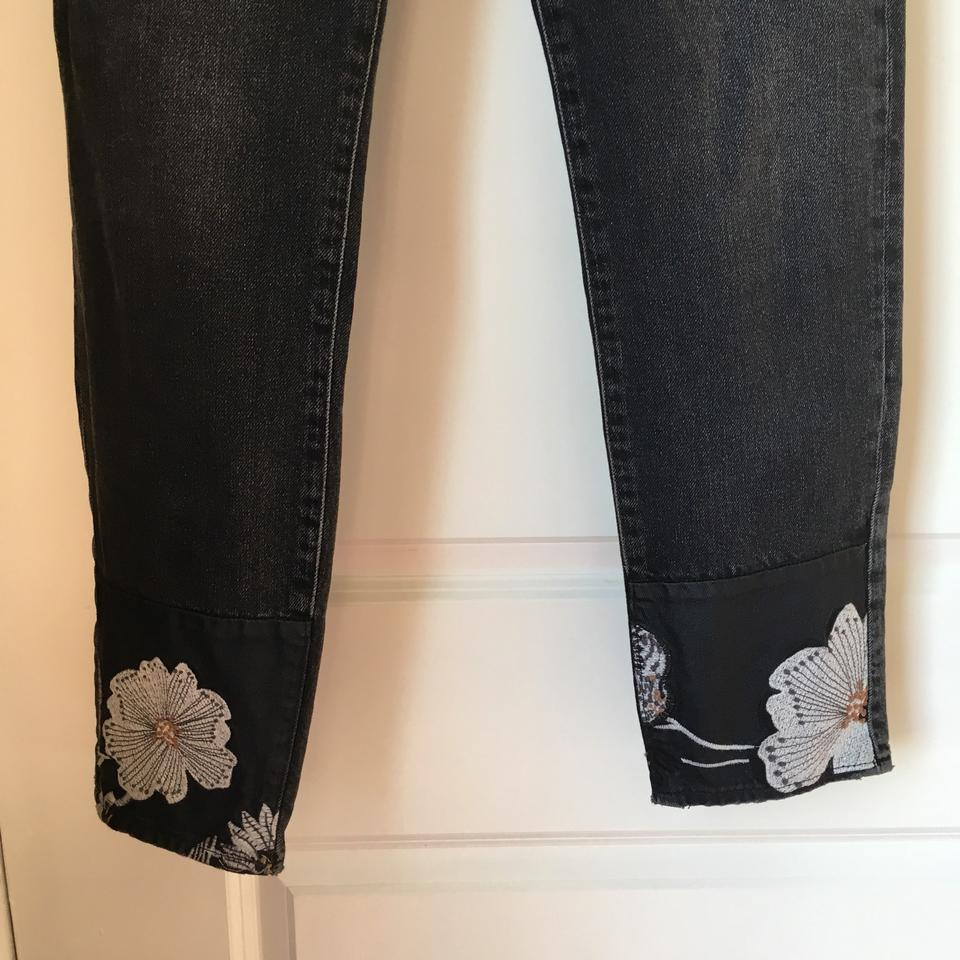 99cd7edb7cd4 H M Dark Rinse High Waisted Ankle Embroidered Black Denim-nwt Capri ...