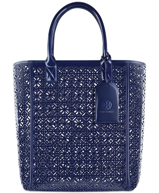 Item - Parfums Lace Design Navy White Faux Leather Tote