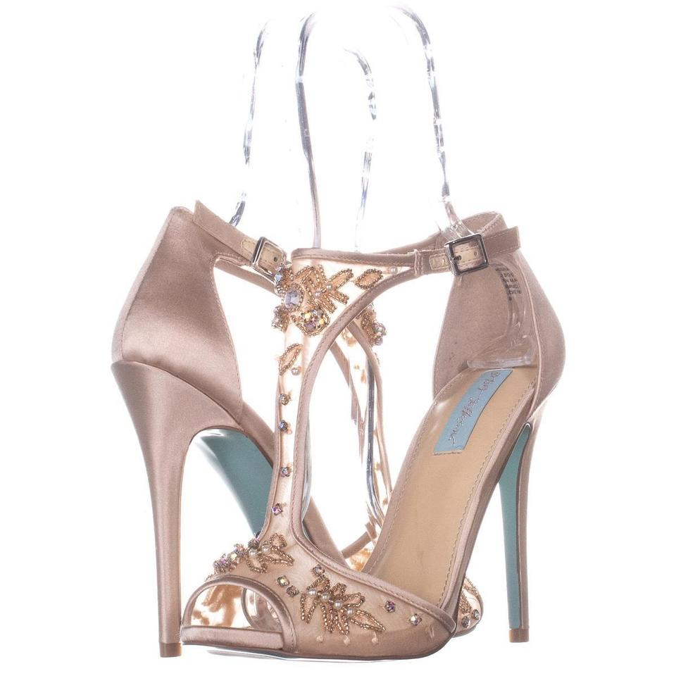 fc64f050d62 Betsey Johnson Beige Holly T-strap Beaded Sandals 319 Champagne Pumps. Size   US 8.5 Regular (M ...