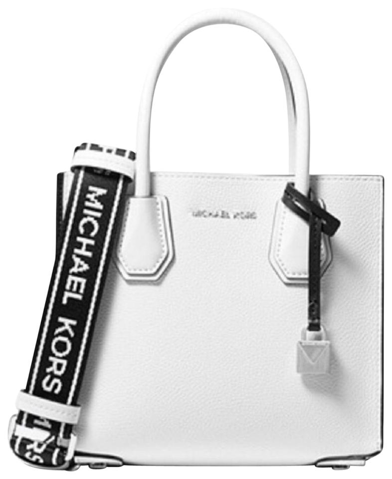 3720e82cb5d5f0 Michael Kors Mercer Medium Logo Tape Accordion White & Black Leather ...