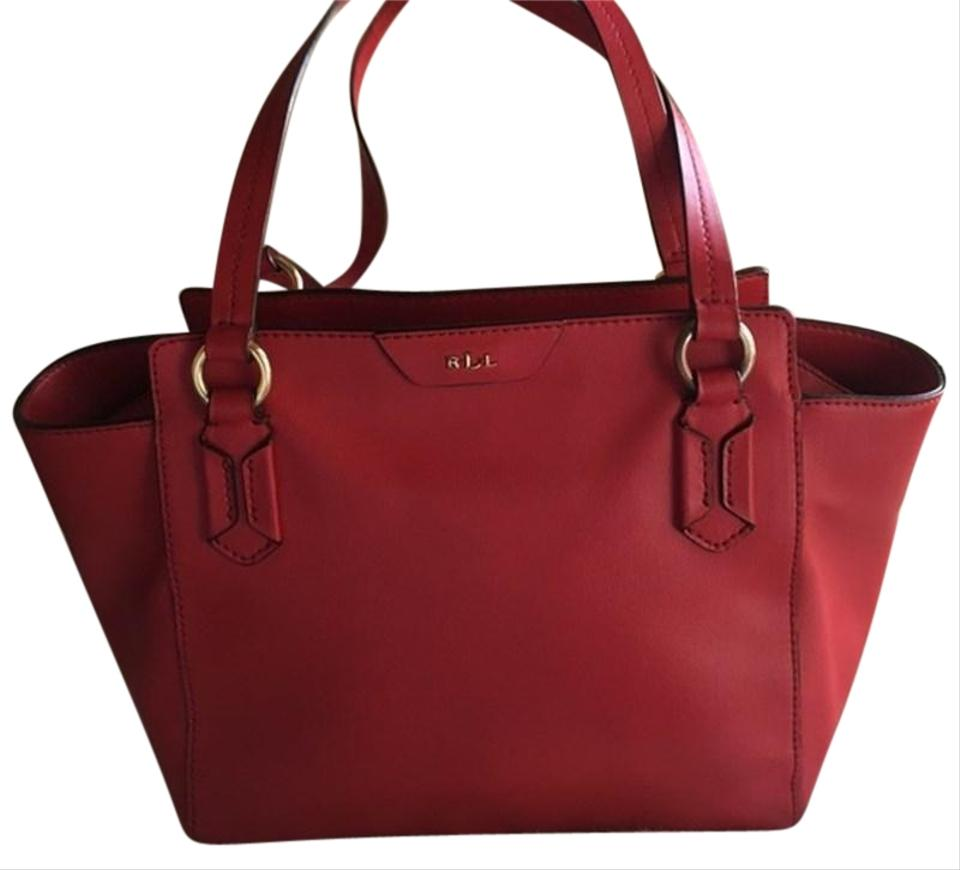 Lauren Ralph Bag Winford Red Leather Modern Tote 56 Off Retail