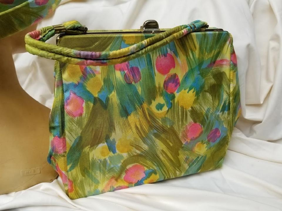 2c488dee0cb9d Other RARE VINTAGE 1960s mod floral Matching Bucket Hat Kelly Bag PURSE  Image 8. 123456789