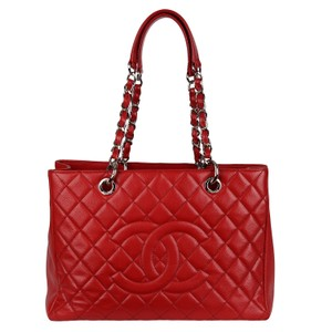 Chanel Caviar Leather Caviar Leather Silver Hardware Tote in Red