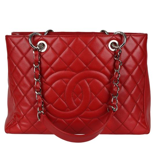 Chanel Caviar Leather Caviar Leather Silver Hardware Tote in Red Image 1
