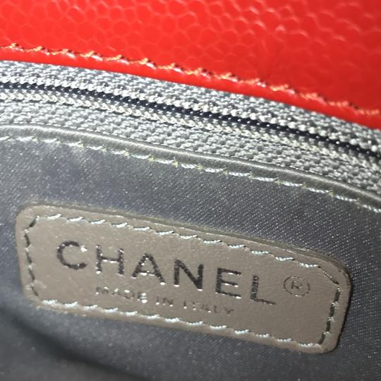 Chanel Caviar Leather Caviar Leather Silver Hardware Tote in Red Image 10