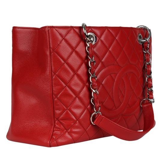 Chanel Caviar Leather Caviar Leather Silver Hardware Tote in Red Image 3
