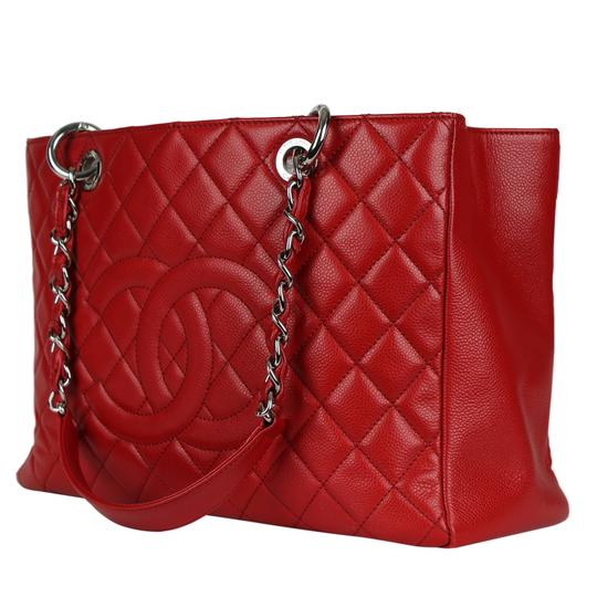 Chanel Caviar Leather Caviar Leather Silver Hardware Tote in Red Image 4