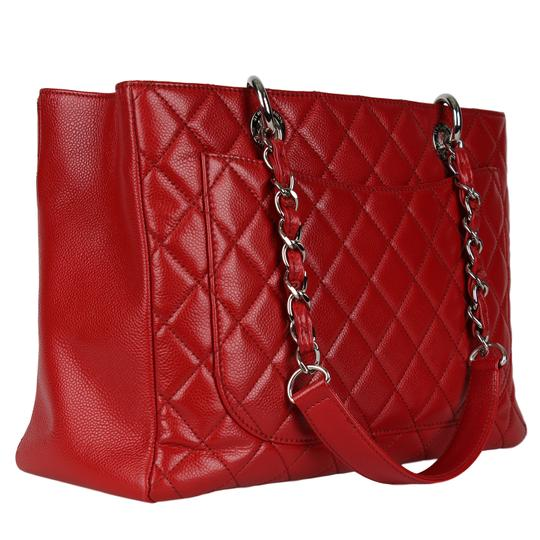 Chanel Caviar Leather Caviar Leather Silver Hardware Tote in Red Image 6