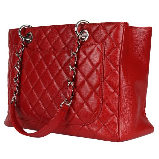 Chanel Caviar Leather Caviar Leather Silver Hardware Tote in Red Image 7